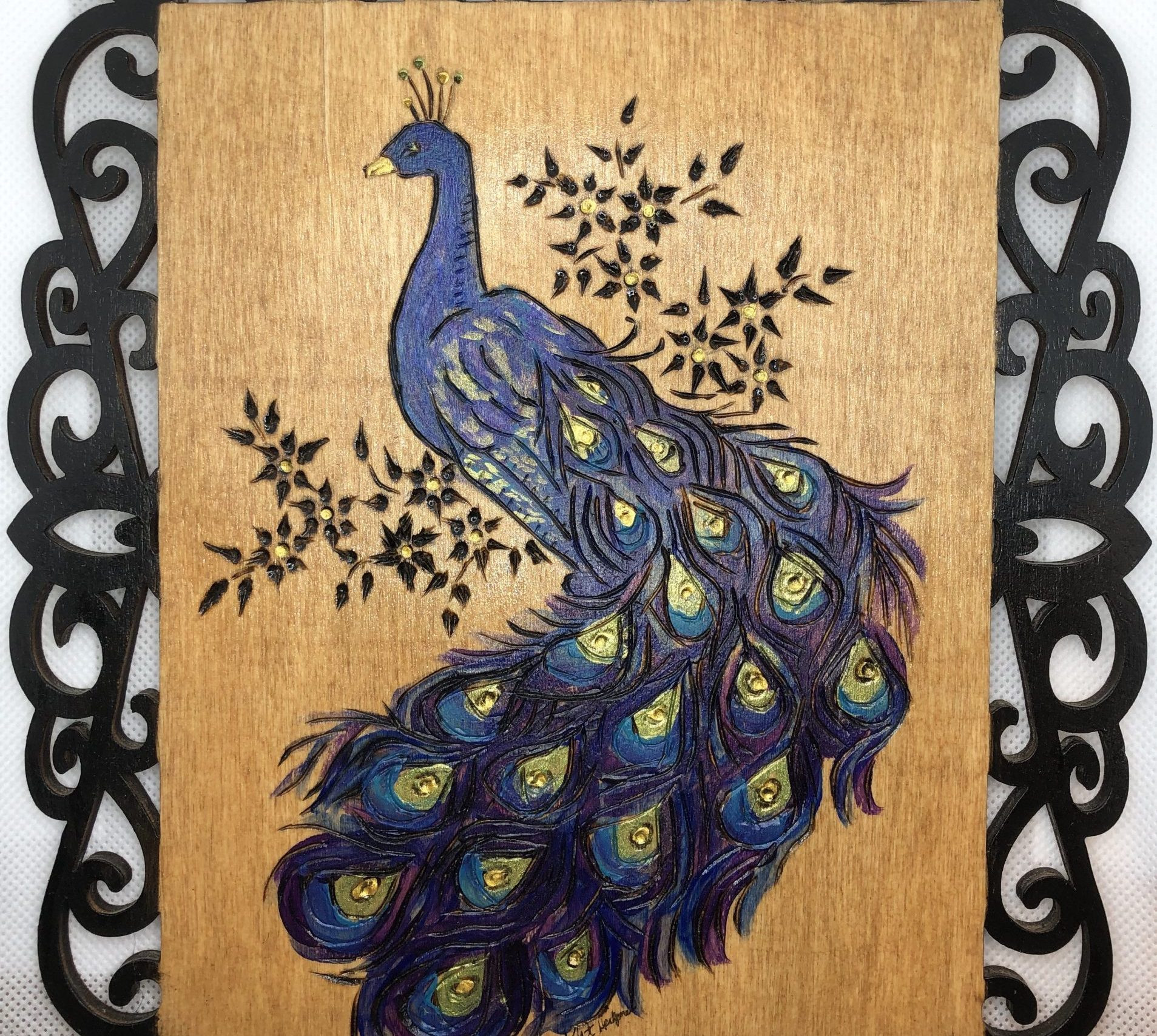 Beautiful Peacock Wood Burning Pyrography Local Artists