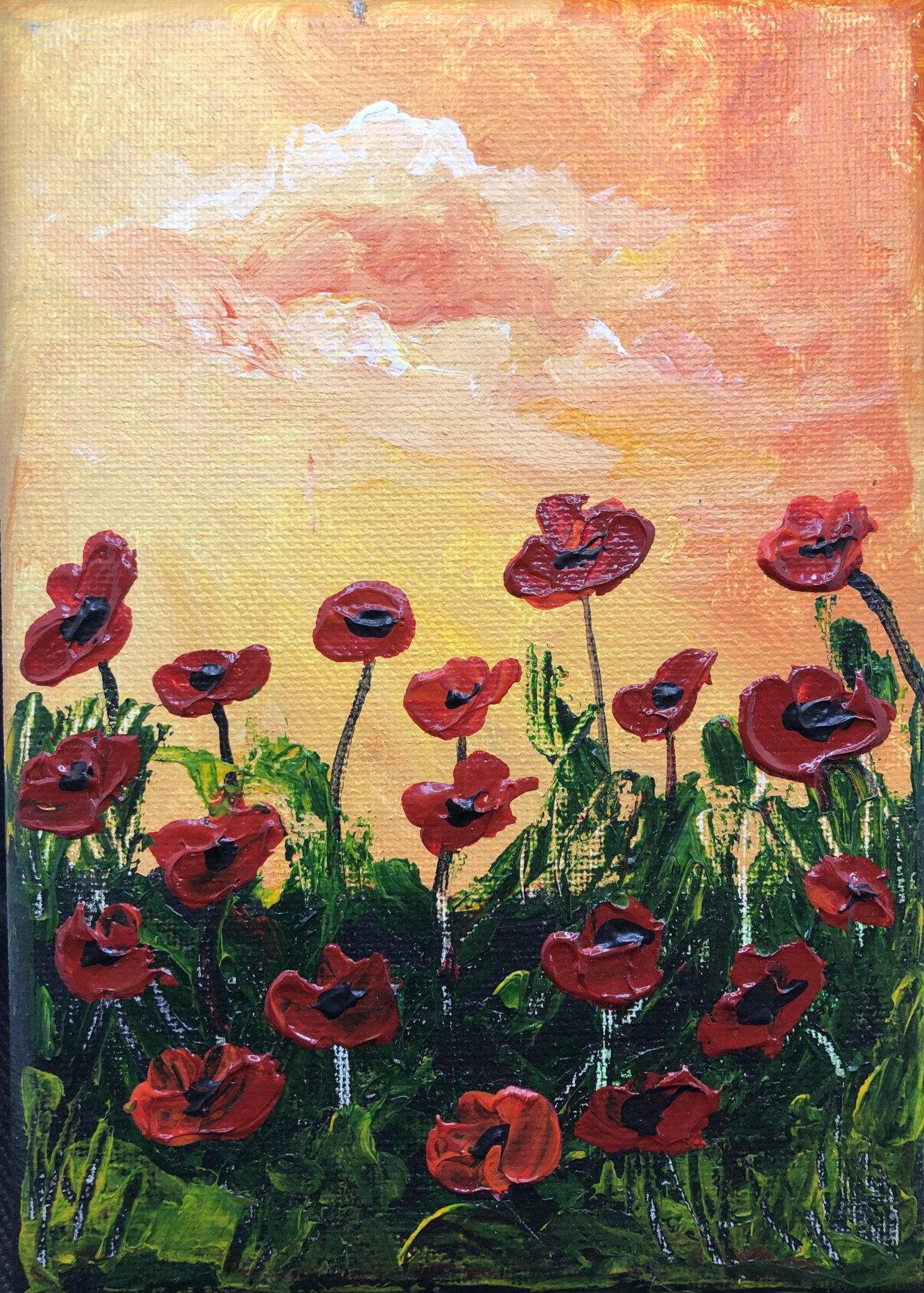 peach poppy sunset painting fine art local artists